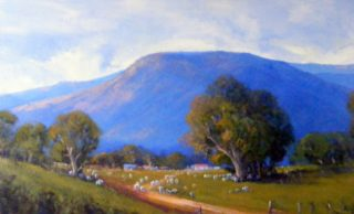 An Acrylic painting by Trish Bennett in the Realist Impressionist style  depicting Rural Hills and Mountains with main colour being Blue and Olive and titled A Perfect Day