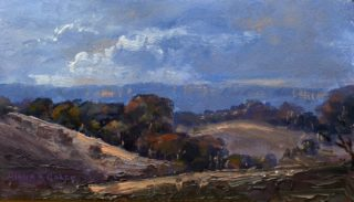 An Oil painting by Diana Garth in the Realist Impressionist style  depicting Landscape Hills and Rural with main colour being Blue and Olive and titled A Moody Landscape