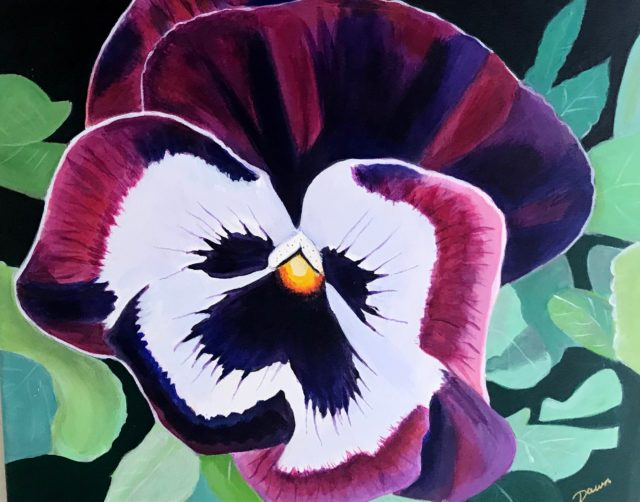 Acrylic Painting by Dawn Luttrell titled Purple Pansy