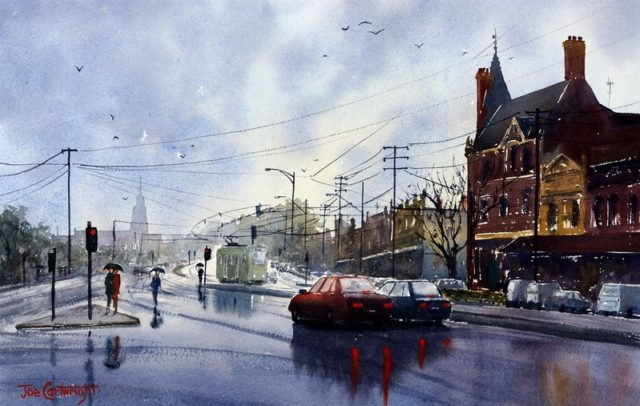 Watercolour Painting by Joe Cartwright titled Clifton Hill Melbourne in the Rain
