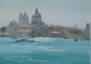A Watercolour artwork by Kasey Sealy in the Impressionist style  depicting Landscape Buildings City and Water with main colour being Blue and titled Venice