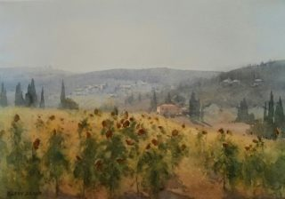 A Watercolour artwork by Kasey Sealy in the Impressionist style  depicting Landscape Flowers Hills and Rural with main colour being Blue Grey and Ochre and titled Tuscan Light