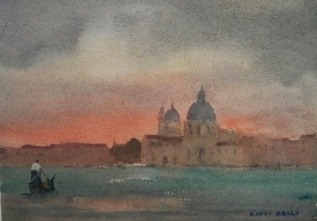 Watercolour Painting by Kasey Sealy titled Venice Last Light
