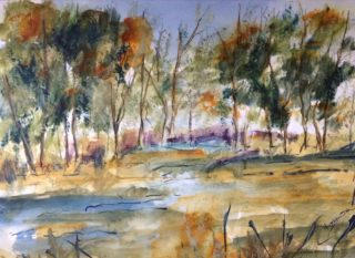 A Watercolour painting by Margaret Morgan Watkins in the Impressionist style  depicting Landscape Bush and Trees with main colour being Blue Brown and Ochre and titled Out in the Bush