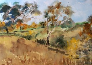 A Watercolour artwork by Margaret Morgan Watkins in the Impressionist style  depicting Landscape Bush and Trees with main colour being Blue Ochre and Olive and titled Along a Country Road