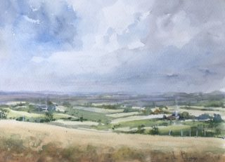 A Watercolour painting by Vivi Palegeorge in the Realist Impressionist style  depicting Landscape Farmland Hills and Mountains with main colour being Blue Green and Grey and titled Moving into summer.