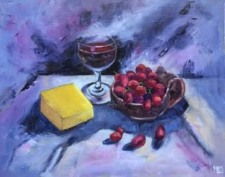 An Oil  painting  by Australian artist Moyra Le Blanc Smith in the Contemporary style , Food, Fruit and Wine with main colour being Blue and Purple and titled Wine, Cheese and Grapes