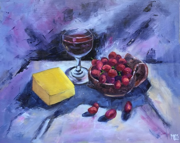 Oil Painting by Moyra Le Blanc Smith titled Wine, Cheese and Grapes