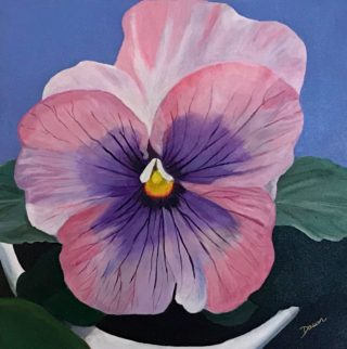 An Acrylic painting by Dawn Luttrell in the Realist style  depicting Flowers with main colour being Pink and titled Pansy