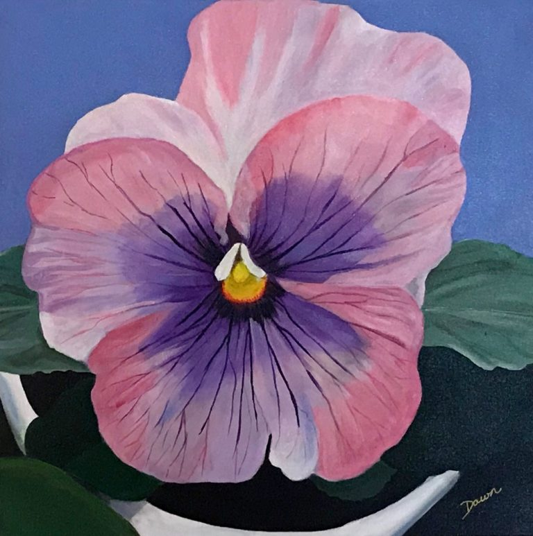 Acrylic Painting by Dawn Luttrell titled Pansy