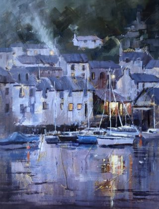 A Mixed Media artwork by Vivi Palegeorge in the Contemporary Realist style  depicting Buildings Boats and Jetty with main colour being Grey and titled Polperro twilight.