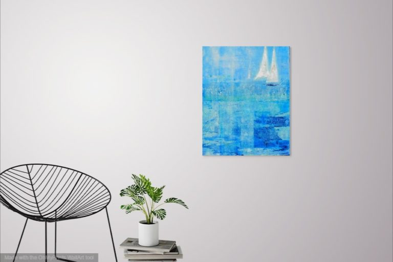 Acrylic Painting by Jeanette Adams titled Sails Out Of The Blue