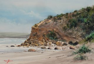 A Watercolour artwork by Terry Jarvis in the Realist Impressionist style  depicting Beach and Water with main colour being Blue Brown and Ochre and titled Shelley Beach Portland, Victoria