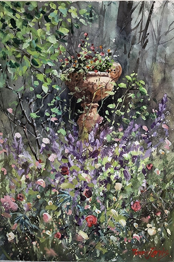 Watercolour Painting by Terry Jarvis titled Our Garden in the Forest