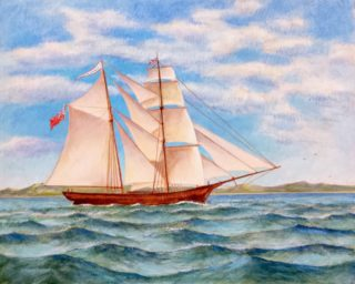 An Acrylic painting by Gregory Pastoll in the Realist Impressionist style  depicting Boats Sea and Waves with main colour being Blue Brown and Cream and titled The Mary Celeste