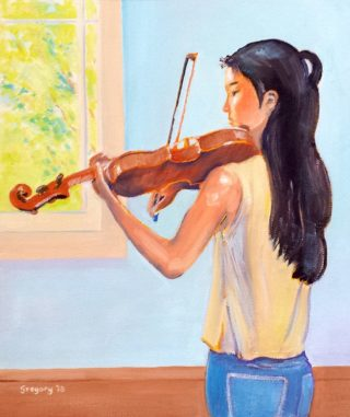 An Oil painting by Gregory Pastoll in the Realist Impressionist style  depicting Woman Girl and Music with main colour being Blue Brown and Cream and titled Violinist Practising