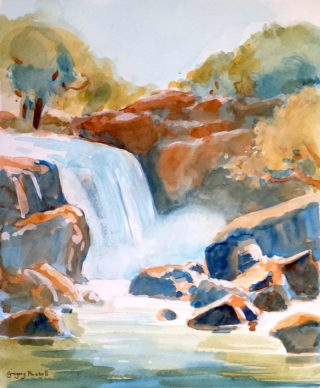 A Watercolour painting by Gregory Pastoll in the Impressionist style  depicting Landscape River Rocks and Water with main colour being Blue Brown and Cream and titled Waterfall Impression