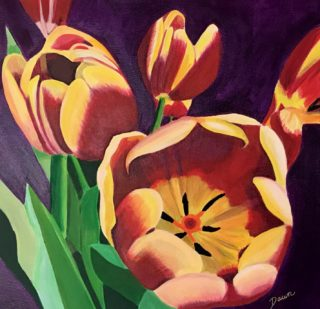 An Acrylic painting by Dawn Luttrell in the Realist style  depicting  Flowers with main colour being Purple Red and Yellow and titled Tulips from Anthony