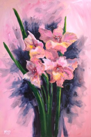 An Oil  painting  by Australian artist Moyra Le Blanc Smith in the Abstract Impressionist style  depicting Flowers and Garden with main colour being Grey and Pink and titled Glorious Gladioli