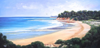 An Oil  painting  by Australian artist Moyra Le Blanc Smith in the Realist Impressionist style  depicting Beach, Sea and Water with main colour being Blue, Cream and Green and titled Torquay Beach