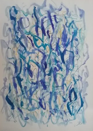 A Mixed Media painting by Dawn Lim in the Abstract style  with main colour being Blue and titled Tangled Springs