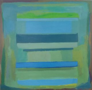 An Acrylic painting by Dawn Lim in the Abstract style  depicting  with main colour being Blue and Green and titled Blue Greens