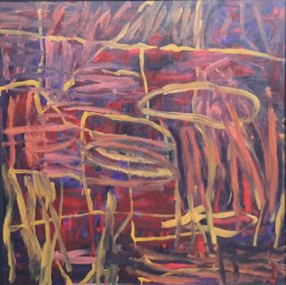 An Oil painting by Dawn Lim in the Abstract style  with main colour being Ochre Pink and Red and titled Red and Ochre