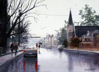 A Watercolour artwork by Joe Cartwright in the Realist Impressionist style  depicting Landscape Buildings and City and titled Bathurst in the Rain