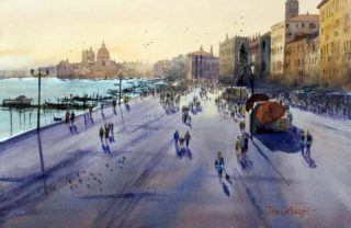 A Watercolour artwork by Joe Cartwright in the Realist Impressionist style  depicting Landscape Buildings and City with main colour being Blue Ochre and Purple and titled Towards St Marks Plaza, Venice