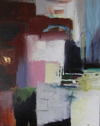 An Acrylic painting by Marian Alexopoulos in the Abstract style  with main colour being Black Blue and Brown and titled Laneway Lipari