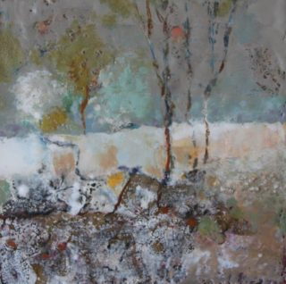 A  painting by Marian Alexopoulos in the Abstract style  with main colour being Blue Brown and Cream and titled Out Bush