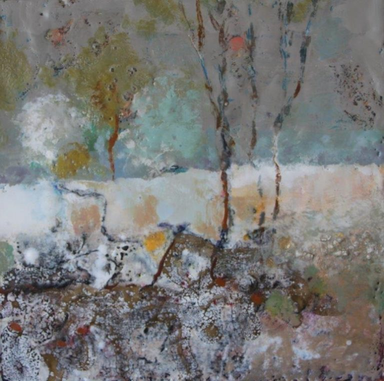 Mixed Media Painting by Marian Alexopoulos titled Out Bush