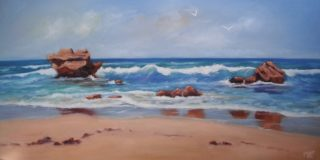 An Oil  painting  by Australian artist Moyra Le Blanc Smith in the Realist Impressionist style  depicting Beach, Rocks and Sea with main colour being Blue and Cream and titled Rocks and Waves - Aireys Inlet