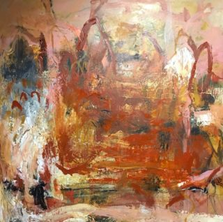 A Mixed Media artwork by Rhonda Campbell in the Abstract style  depicting  with main colour being Cream Orange and Pink and titled Lost City