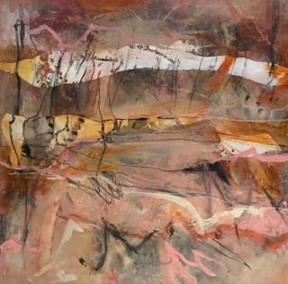 A Mixed Media artwork by Rhonda Campbell in the Abstract style  depicting  with main colour being Brown Cream and Ochre and titled Snowlines