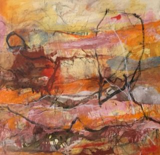 A Mixed Media artwork by Rhonda Campbell in the Abstract style  depicting  with main colour being Brown Orange and Pink and titled Tanami Track