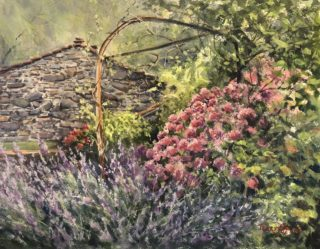 A Watercolour artwork by Terry Jarvis in the Realist Impressionist style  depicting Flowers and Garden with main colour being Green Pink and Purple and titled Lavender Garden