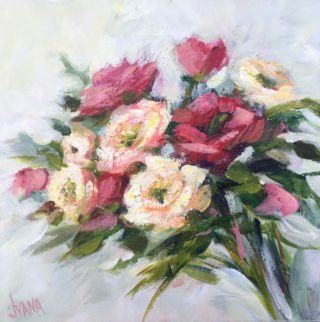 An Acrylic painting by IVANA PINAFFO in the Impressionist style  Flowers with main colour being Pink and titled The beauty of nature