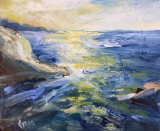 An Acrylic painting by IVANA PINAFFO in the Contemporary style  Rocks Sea and Water with main colour being Blue and titled SEASCAPE #1