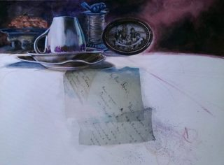 A Mixed Media painting by Victoria Fitzpatrick depicting Still Life Kitchenware and titled A Letter for Rose