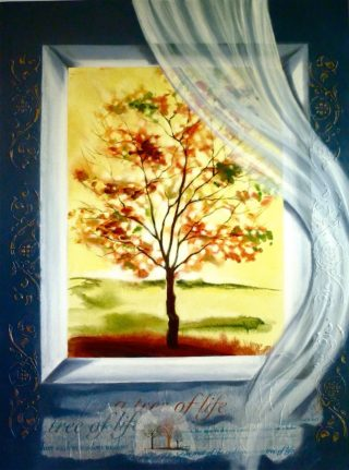 A Mixed Media painting by Victoria Fitzpatrick Trees with main colour being Black and Yellow and titled Wisdom Tree