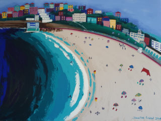 An Acrylic painting by Jennifer Baird in the Contemporary style  depicting Beach Water and Waves with main colour being Blue Green and Yellow and titled Bondi Beach