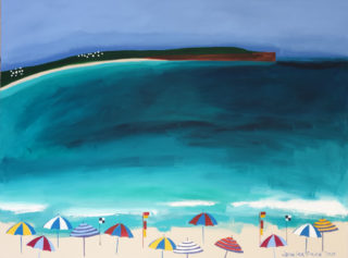 An Acrylic painting by Jennifer Baird in the Contemporary style  depicting Beach Water and Waves with main colour being Blue and Yellow and titled Pambula Beach