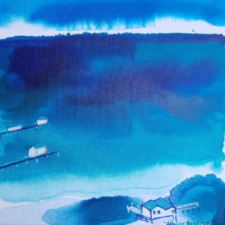 An Ink painting by Jennifer Baird in the Contemporary style  depicting Seascape Sea with main colour being Blue and titled The Peninsula