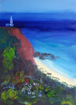 An Oil painting by Jennifer Baird in the Contemporary style  depicting Landscape Beach Lighthouse and Water with main colour being Blue Brown and Green and titled Norah Head Lighthouse
