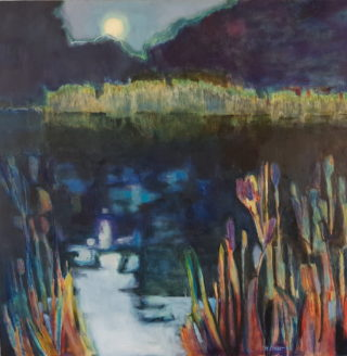 An Oil painting by Melissa Fraser in the Impressionist style  depicting Landscape Lake Night and Swamp with main colour being Black Blue and Gold and titled Moonlight Rushes