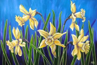 An Acrylic  painting  by Australian artist Moyra Le Blanc Smith in the Realist style  depicting Flowers with main colour being Blue, Green and Yellow and titled Daffodil Dance