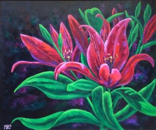 An Oil painting by Moyra Le Blanc Smith depicting Flowers with main colour being Black Green and Pink and titled Crimson Dance