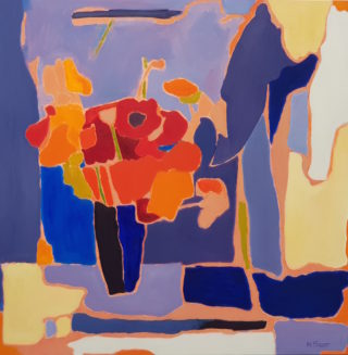 An Oil painting by Melissa Fraser in the Abstract Expressionist style  depicting Flowers Interior and Vases with main colour being Blue Orange and Purple and titled Orange and red flowers