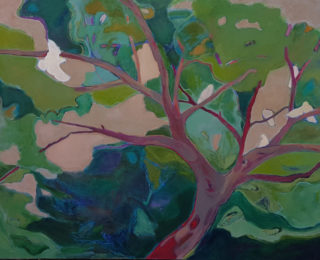 An Oil painting by Melissa Fraser in the Impressionist style  depicting Trees Birds with main colour being Blue Green and Grey and titled Perched